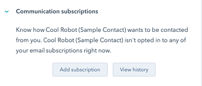 Communication preferences op het contact record in HubSpot