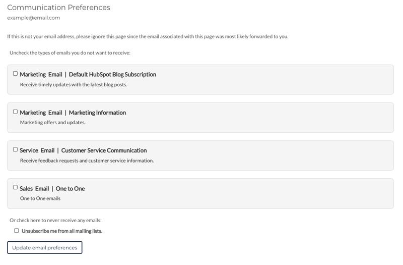 Subscription preference pagina HubSpot
