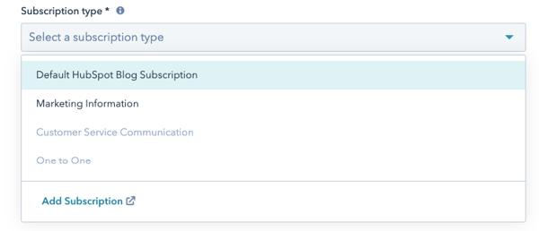 Subscription type toevoegen aan marketing email in HubSpotail