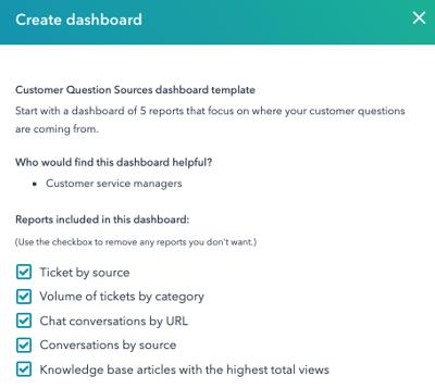 Standaard rapporten in het Customer Question Sources Dashboard