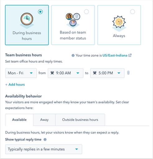 HubSpot live chat beschikbaarheid