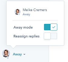 HubSpot live chat away mode