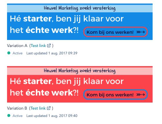 HubSpot Nederland - AB testen CTA buttons